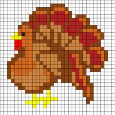 Turkey Thanksgiving Perler Bead Pattern