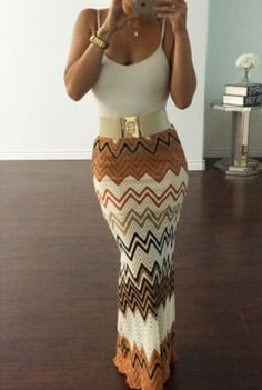Mid Waist Striped Print Ankle Length Skirt