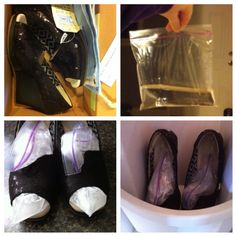 How to stretch shoes. Fill a ziplock bag 1/4 full of water. Stick down in the shoe tightly where you want them to stretch. Release as much air from you bag as you can. Stick them in the freezer for a few hours. And viola! When the water freezes and the ice expands it stretches your shoes.  Let set out a few mins then pull out the bags.  May need to dry awhile.