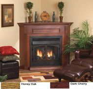 Ventless Gas Fireplace - Smartline 36 Inch Ventless Gas Fireplace - Remote Ready - with Corner Surround and Hearth