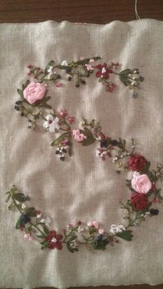 Ribbon embroidery letter S