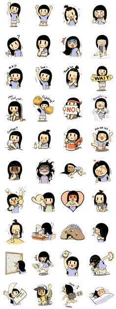 Stickers - Fekete hajú lány