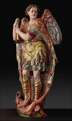 San Miguel Arcángel. Alonso Berruguete (1490-1561) Madera policromada, dorada y estofada (135 x 65 x 38 cm)
