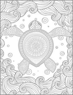 2 Adult Coloring Pages Animal Page Printable Ocean Turtle Lovers Gift