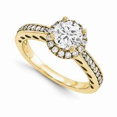 14KY AAA Diamond Semi-mount Halo Engagement Ring
