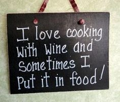 Cooking with Wine Sign Funny for kitchen..lol