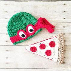 f7e88c366f1 Crochet Ninja Turtle Hat Beanie Pizza Set Newborn Baby Infant Toddler Child  Adult Handmade Photography Photo Prop Baby Shower Gift