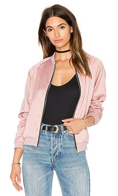 Motel Satin Bomber Jacket in Dusky Pink