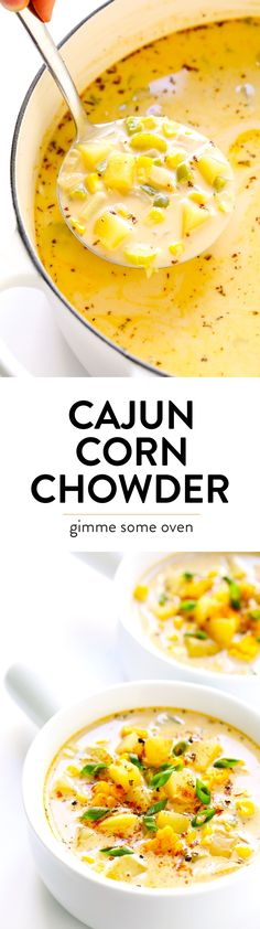LOVE this zesty Cajun Corn Chowder recipe! It's lightened up with healthier ingredients, including lots of protein-packed lentils and creamy coconut milk, and it's the perfect dinner recipe for summer and fall. | Gimme Some Oven #corn #chowder #soup #vegan #glutenfree #vegetarian #healthy #dinner #cajun #recipe