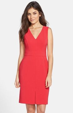 Free shipping and returns on Vince Camuto Crepe Sheath Dress (Regular & Petite) at Nordstrom.com. This well-structured sheath is cleanly cut from crisp crepe. Precise details include flattering seaming, a front vent in the pencil skirt and a chic lower-back cutout.