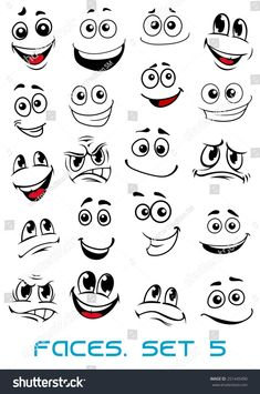 Cartoon faces with different expressions, mostly happy and smiling, featuring the eyes and mouth, design elements on white