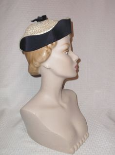 47d8a969581 50s 60s Vintage Navy Blue and Cream Cellophane Straw Modified Pillbox Hat