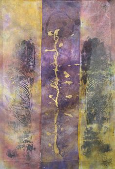 Axis Mundi by Wen Redmond. Transparent multi-layered collage. Dyed, painted, mono print, script, sewn, silk organza, H: 32 x W: 22.