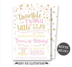 Twinkle Twinkle Little Star Invitation Birthday Invitation