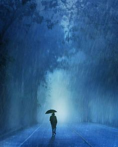 Rainy in blue by Anuchit Sundarakiti Smell Of Rain, I Love Rain, Rain Art, Rain Photography, Rain Storm, Walking In The Rain, Blue Aesthetic, Rain Drops, Animes Wallpapers