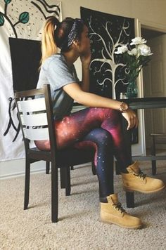 How to Wear Timberland Boots with galaxy Leggings