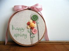 Hand Embroidered Happy Spring Needlework by thecareerscrapper