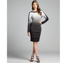 BCBGMAXAZRIA black and white striped jersey knit long sleeve 'Rigby' dress