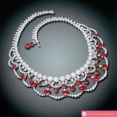 Diamonds & heart-shaped rubies necklace, by Harry Winston