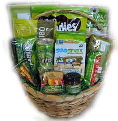 Green Gift Basket--green is associated with healing and hope--a perfect message for someone battling cancer!