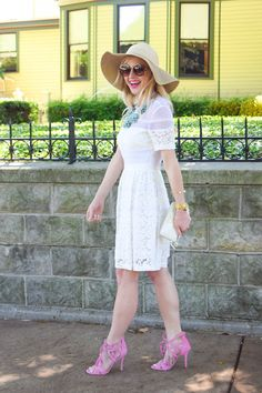 White Fit And Flare Lace Dress By Vandi Fair