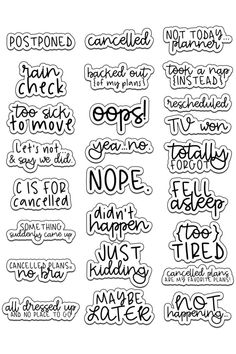 Cancelled Stickers – Free Cancelled Planner Stickers – Planners/Home Organization – Planen Tumblr Stickers, Phone Stickers, Journal Stickers, Calendar Stickers, Calendar Templates, Printable Calendars, Blank Calendar, Calendar 2020, Stickers For Planners