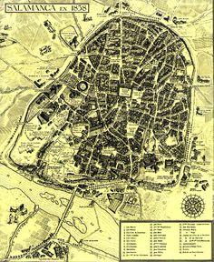 1858. Plano de Salamanca Antique Books, Book Pages, City Photo, Vintage World Maps, Paintings, Antiques, Design, Maps, Monuments
