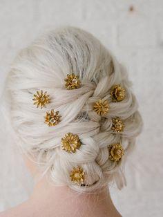 Crystal-studded brass flower hairpins