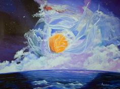 """Original Contemporary Seascape Painting """"Fragrant Combustion"""" by Contemporary International Artist Arrachme-48""""x36"""" original-Available-http://arrachmecontemporaryart.blogspot.com/2014/03/original-contemporary-seascape-painting.html"""