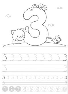 Writing numbers worksheets for preschool and kindergarten - Kids Art & Craft Printable Preschool Worksheets, Number Worksheets, Teaching Numbers, Writing Numbers, Pre K Activities, Alphabet Activities, Kindergarten Gifts, Math Work, Math For Kids