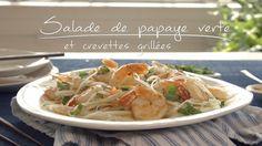Salade de papaye verte et crevettes grillées Quebec, Japchae, Healthy Recipes, Healthy Food, Salads, Brunch, Chicken, Meat, Ethnic Recipes