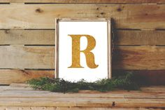 Gold R Print, Letter R Monogram, R Print, R art, Instant Download, $5, PetrichorBlue on Etsy.com