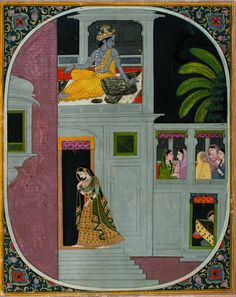 Series Title: Connoisseur's Delight Suite Name: Raiskapriya Display Artist: Purkhu Creation Date: ca. 1805 Display Dimensions: 11 in. cm x cm) Credit Line: Edwin Binney Collection Accession Number: Collection: The San Diego Museum of Art Mughal Miniature Paintings, Mughal Paintings, Indian Paintings, Cool Paintings, Abstract Paintings, Krishna Painting, Krishna Art, Radhe Krishna, Indian Traditional Paintings