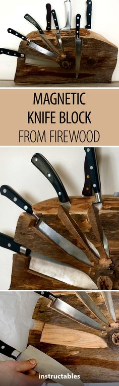 Transform a piece of firewood into a magnetic knife block  #woodworking #kitchen #decor