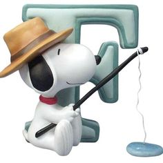 F IS FOR FISHING WITH SNOOPY