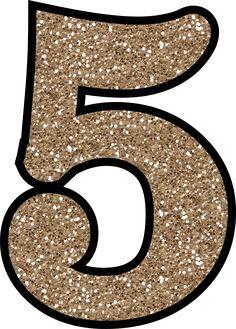5 Glitter Numbers 0 - 9 Free Printable Numbers