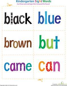 Kindergarten Sight Words Reading Flash Cards Worksheets: Kindergarten Sight Words: Black to Can