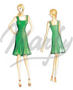 Marfy 3150 - Dress, square neck line, short, fitted dress with bell-bottomed skirt. Suggested fabric: cotton satin or poplin.