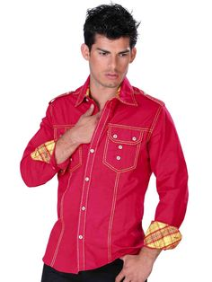 30950 Camisa Vaquera Caballero El General Red Leather, Leather Jacket, Jackets, Products, Fashion, Men's Shirts, Men's, Flannels, Cowboys