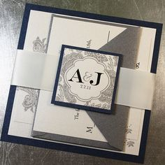 Midnight Silver Bellevue Wedding Invitation Suite - Ribbon Belly Band - Sample Kit