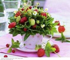 party - Sweet & Sour Summer Party Inspiration - imagine this for a birthday party, a picnic, or even a summer wedding... the centerpiece: garden strawberries in a teacup