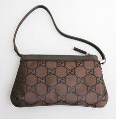 NEW Authentic GUCCI Canvas Handbag Bag Pouch Clutch Evening Bag Brown Nylon