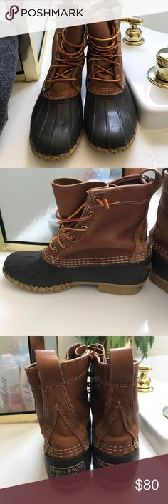 PRICE JUST LOWERED! L.L. Bean Duck Boots Original duck boots, tan, in good condition L.L. Bean Shoes Winter & Rain Boots