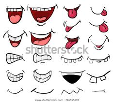 Beautiful illustration isolated on white background cartoon mouth set vector symbol icon design. Beautiful illustration isolated on white background Cartoon Faces Expressions, Cartoon Mouths, Cartoon Smile, Baby Cartoon, Doodle People, Mouth Drawing, Diy Mask, Doodle Art, Doodle Images