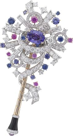 Van Cleef & Arpels Peau d'Âne Enchanted Forest collection wand in white and pink gold with a central purple sapphire, round diamonds, baguette-cut pink, purple and blue sapphires and onyx.