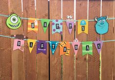 Monster University Birthday, Monster Inc Party, Monster Birthday Parties, Mickey Mouse Birthday, Disney Birthday, Birthday Photo Banner, First Birthday Party Themes, Diy Birthday Decorations, Happy Birthday Banners
