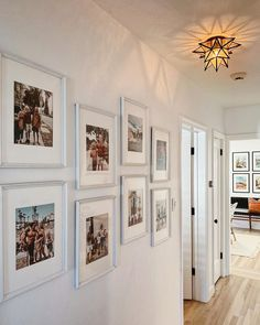 hallway decorating 256071928799361681 - 11 decorating ideas for a humdrum hallway Source by livabl Hallway Pictures, Family Pictures On Wall, Hallway Wall Decor, Hallway Walls, Hallway Ideas, Hallway Decorations, Narrow Hallway Decorating, Flur Design, Gallery Wall Layout
