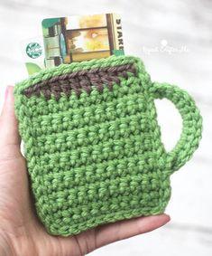 crochet coffee mug gift card holder by www.repeatcrafterme.com