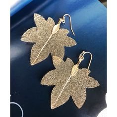 "Natural Dipped Filigree Leaf Dangle Earrings. Lead and nickel compliant. Fish hook back, available in gold     Size 1.75"" x 2.5""   NWT 