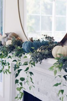 2018 Fall Decorating Ideas - Home Bunch Interior Design Ideas decor blue diy 2018 Fall Decorating Ideas Modern Fall Decor, Fall Home Decor, Autumn Home, Blue Fall Decor, Elegant Fall Decor, Fall Fireplace Decor, Fall Mantel Decorations, House Decorations, Diy 2018